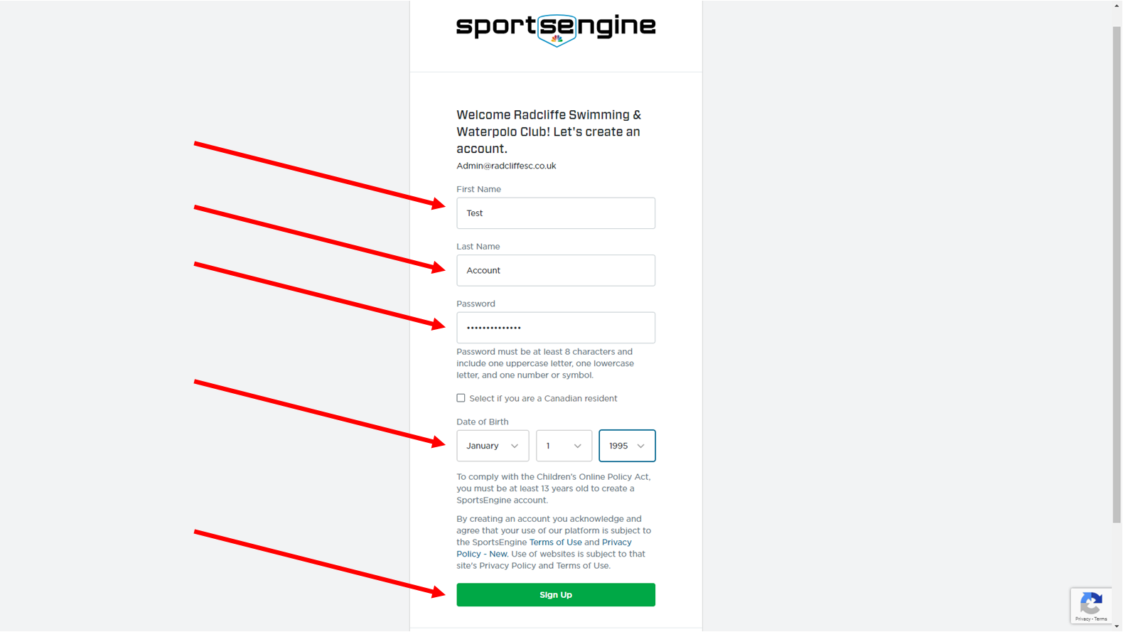 Setting Up Your Sports Engine Account