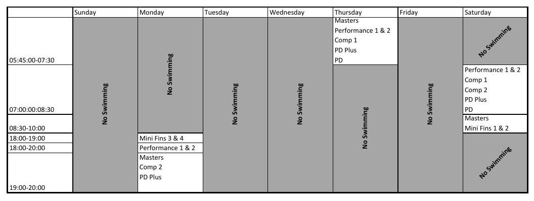 Summer Training Schedule 2018